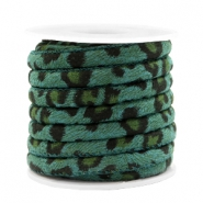 Trendy stitched cord leopard print 6x4mm Ocean Green