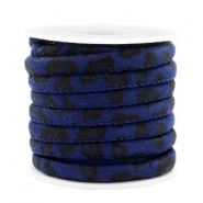 Trendy stitched cord leopard print 6x4mm Dark Blue