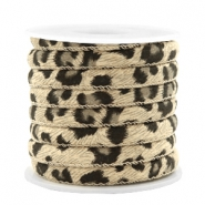 Trendy stitched cord leopard print 6x4mm Sand Beige Brown