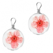Charms with dried flowers 12mm Rose Pink