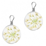 Charms with dried flowers 12mm Greenish White