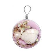 Charms with shell 20mm Lilac Purple