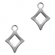 Stainless steel charms rhombus Silver