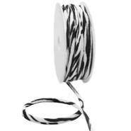Stitched Elastic Ibiza Ribbon Black-White Zebra