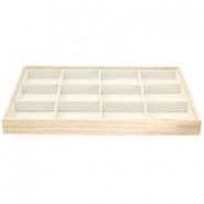 Jewellery display 12 compartments Natural-Off white