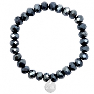 Sisa top faceted bracelets 8x6mm ( stainless steel charm) Black-Top Shine Coating