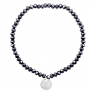Sisa top faceted bracelets 4x3mm ( stainless steel charm) Black-Top Shine Coating