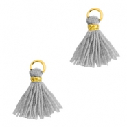 Tassels 1cm Gold-Mirage Grey