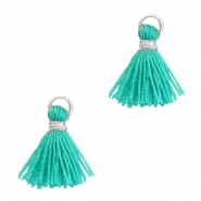 Tassels 1cm Silver-Mint Leaf Green