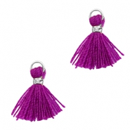 Tassels 1cm Silver-Electric Purple Violet