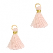 Tassels 1cm Gold-Almond Cream Peach