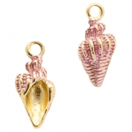 Basic Quality metal charms shell Gold-Pink