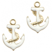Basic Quality metal charms anchor Gold-White