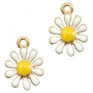 Basic Quality metal charms daisy Gold-White