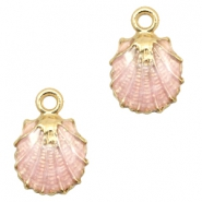 Basic Quality metal charms shell Gold-Light Pink