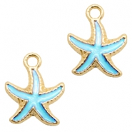 Basic Quality metal charms seastar Gold-Light Blue