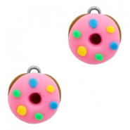 Charm with 1 loop fimo donut Pink-Brown