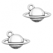 DQ European metal charms planet Saturn Antique Silver (nickel free)