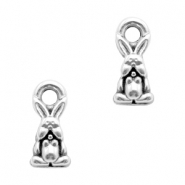 DQ European metal charms hare Antique Silver (nickel free)