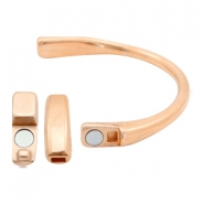 DQ European metal findings bracelet with magnetic clasp (for 3mm flat leather/thread) Rose Gold (nickel free)