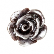 Rose beads 10mm Dark Brown-Silver Coating