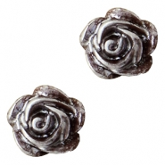 Rose beads 6mm Dark Brown-Silver Coating