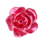 Rose beads 10mm White-Magenta Pink Pearl Shine