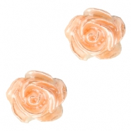 Rose beads 6mm White-Fresh Peach Pearl Shine