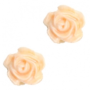 Rose beads 6mm White-Apricot Blush Orange