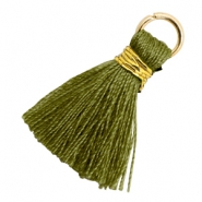 Tassels 1.8cm Gold-Olive Branch Green