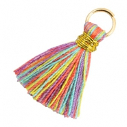Tassels 1.8cm Gold-Multi Colour Red Purple