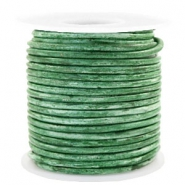 Benefit package DQ leather round 3 mm Vintage Classic Green Metallic