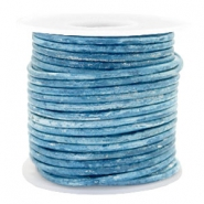 Benefit package DQ leather round 3 mm Vintage Barberry Blue Metallic