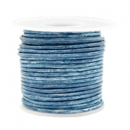 Benefit package DQ leather round 2 mm Vintage Barberry Blue Metallic