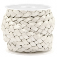DQ leather flat 20 mm braided Silver White Metallic