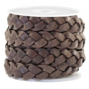 Flat  braided 10 mm DQ leather Dark Chocolate Brown
