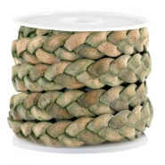 Flat  braided 10 mm DQ leather Medium Olive Green-Vintage Finish