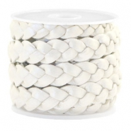 Flat  braided 10 mm DQ leather Silver White Metallic