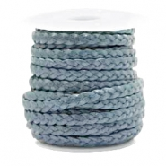 Benefit package Flat braided 5 mm DQ leather Haze Blue Metallic