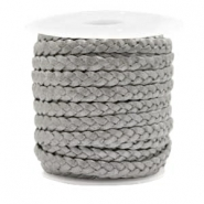 Benefit package Flat braided 5 mm DQ leather Grey Metallic