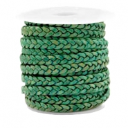 Benefit package Flat braided 5 mm DQ leather Vintage Classic Green