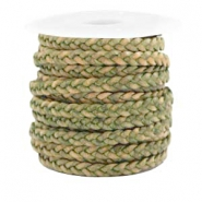 Benefit package Flat braided 5 mm DQ leather Medium Olive Green-Vintage Finish