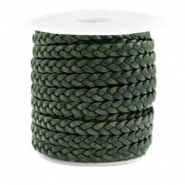 Benefit package Flat braided 5 mm DQ leather Vintage Dark Green
