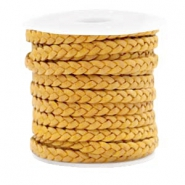 Benefit package Flat braided 5 mm DQ leather Vintage Golden Yellow