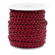 Benefit package Flat braided 5 mm DQ leather Vintage Red