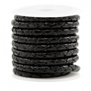 DQ round braided leather 4 strings 4mm Black Metallic