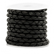 DQ round braided leather 4 strings 4mm Black