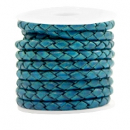 DQ round braided leather 4 strings 4mm Teal Green