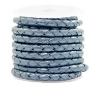 DQ round braided leather 4 strings 4mm Haze Blue Metallic