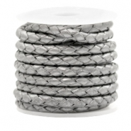 DQ round braided leather 4 strings 4mm Grey Metallic